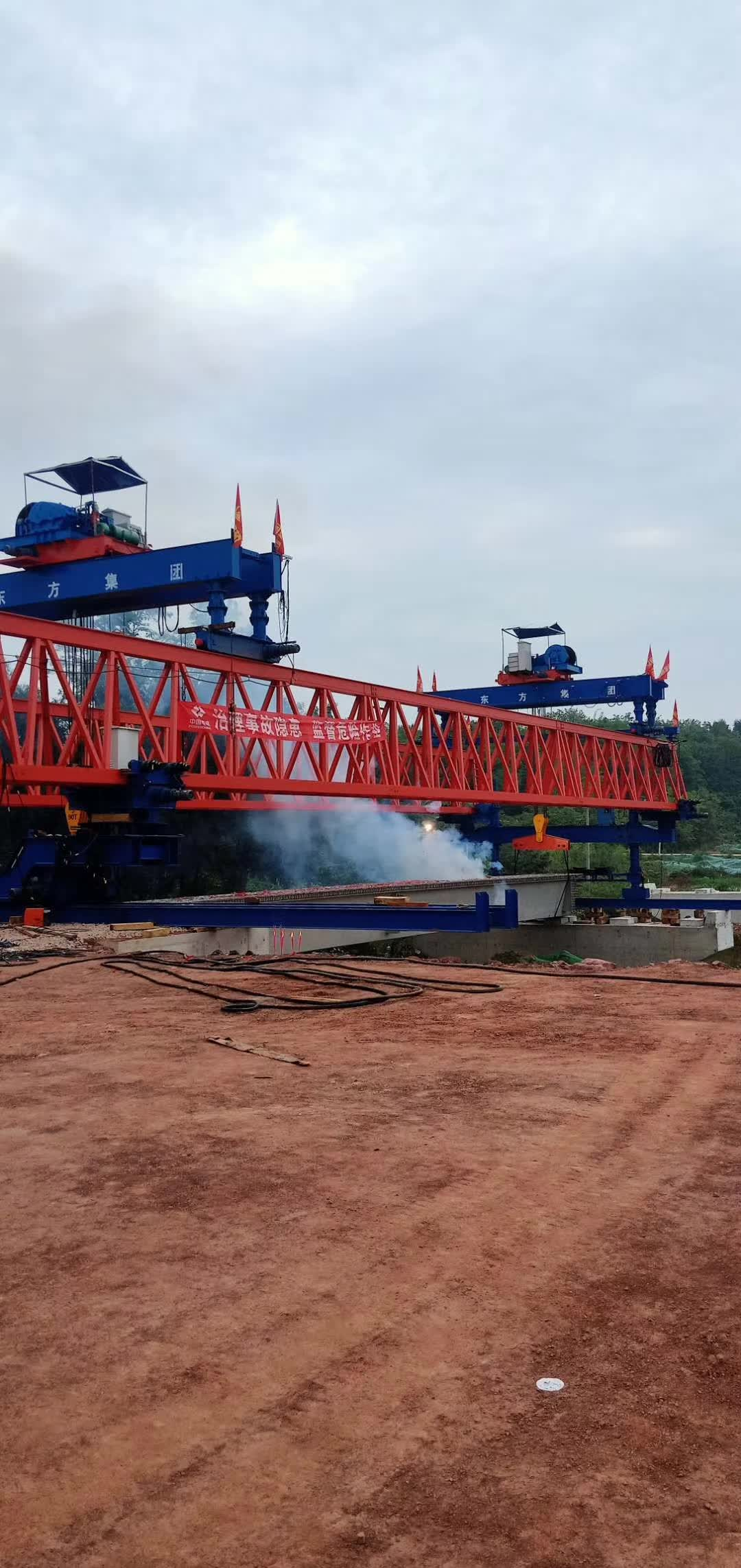 180 tons long bridge beam launch