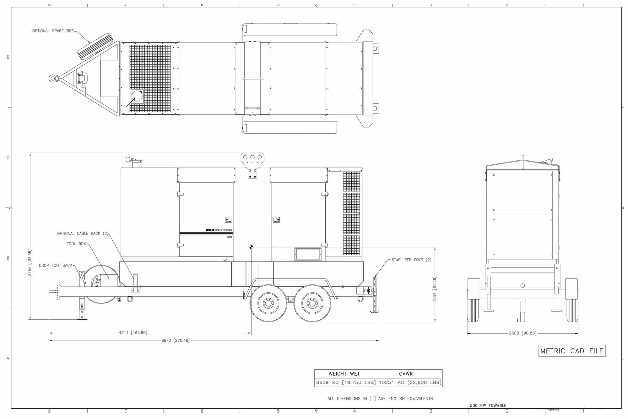 Drawing of KOHLER Generator Trailer