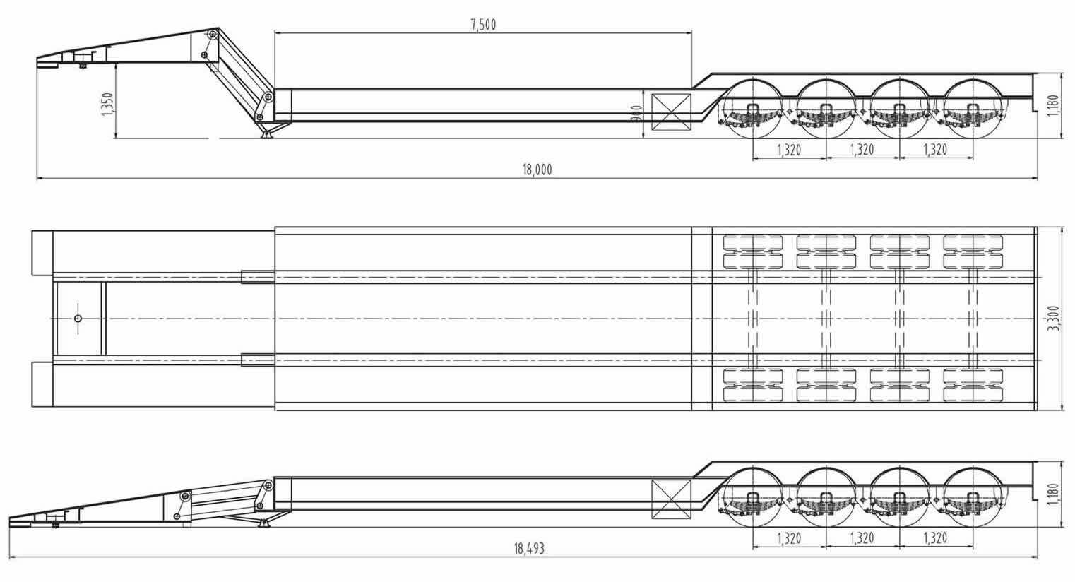 Folding gooseneck trailer drawing