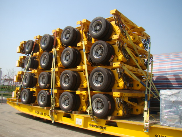 Modular trailer stack on mafi to Mombasa