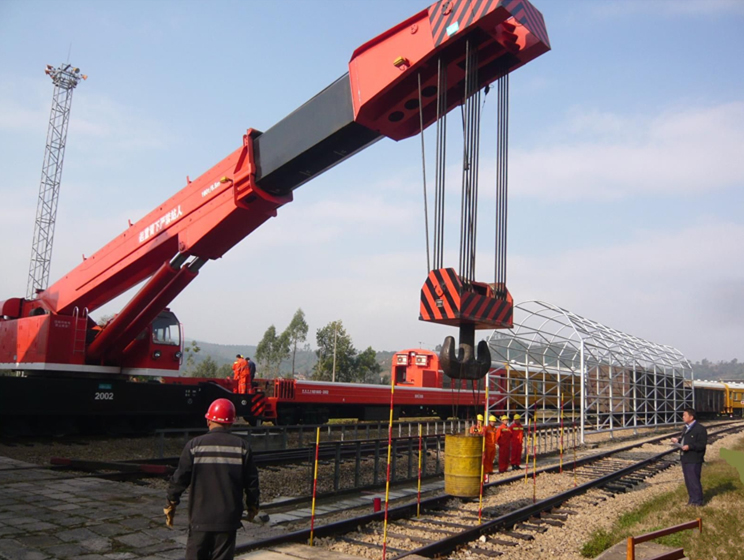 Railroad crane testing at working site