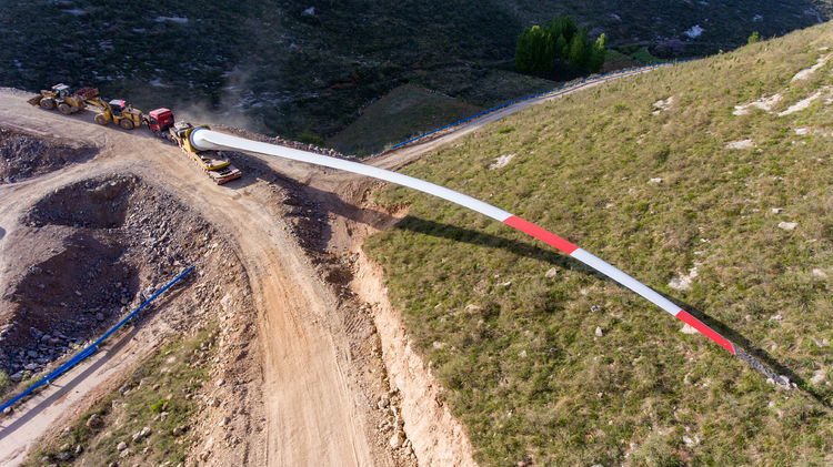 Windmill blade is difficult to transport